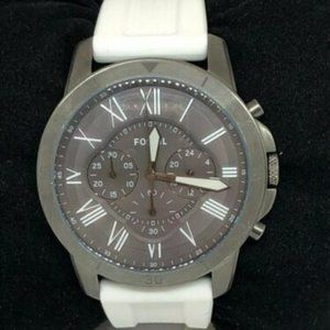 Fossil Men's Silicone Gunmetal Dial Watch Bb984
